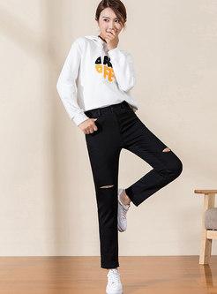 Casual Black Hole Slim Pants