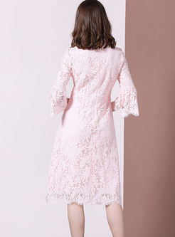 Flare Sleeve Lace Openwork Skater Dress