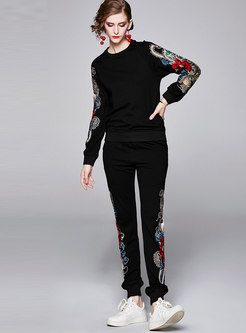 Casual Embroidered Pullover Pant Suits