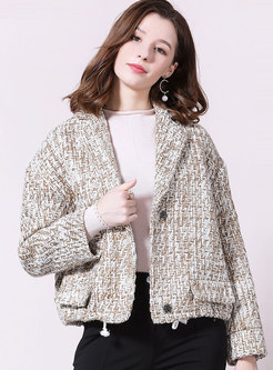Notched Short Straight Wool Blended Coat