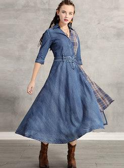 Irregular Waist Plaid Patchwork Denim Maxi Dress