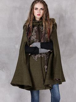 Hooded Cloak Wool Blended Coat