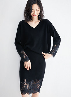 O-neck Patchwork Lace Knit Two Piece Dresses