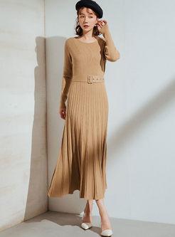 O-neck Slim Pleated Sweater Dress With Belt