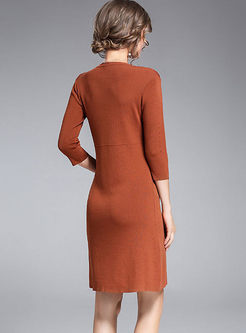 Solid Color O-neck Sweater Bodycon Dress