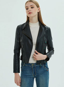 PU Zipper Short Biker Jacket