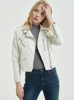 Lapel PU Short Slim Leather Jacket
