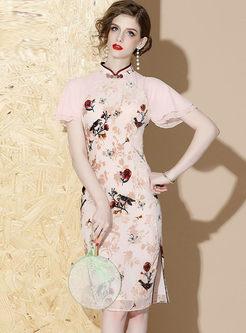 Mandarin Collar Print Sheath Cheongsam