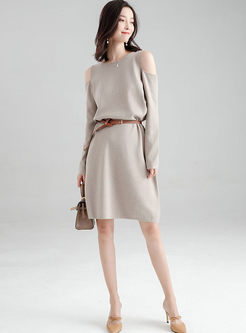 O-neck Cold Shoulder Loose Sweater Dress