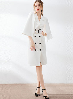 Notched Double-breasted Cloak Waist Bodycon Dress