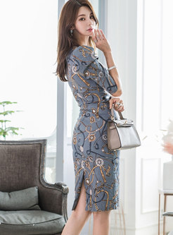 Square Neck Half Sleeve Print Bodycon Dress