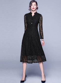 V-neck Lace Patchwork High Waisted Skater Dress