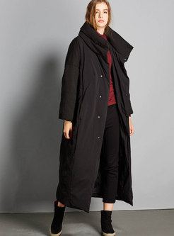 Plus Size Stand Collar Long Down Coat