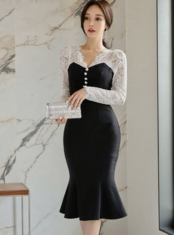 Sexy Lace Openwork Patchwork Mermaid Bodycon Dress