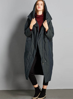 Black Plus Size Hooded Long Down Coat
