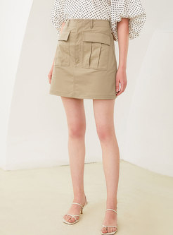 Casual Mini Skirt With Belt