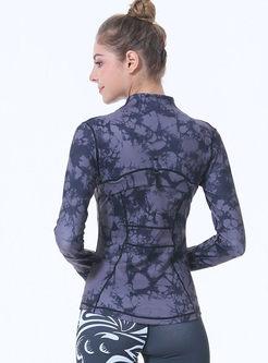 Stand Collar Print Slim Sport Jacket