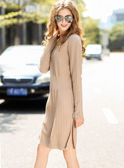 Apricot Standing Collar Slit Sweater Dress