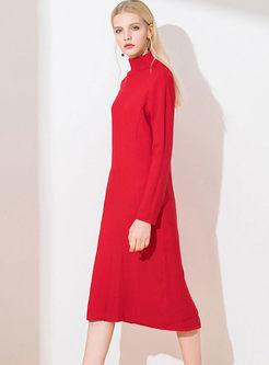 Turtleneck Thick Slit Sweater Midi Dress