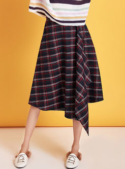 Casual Plaid A Line High-low Skirt