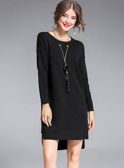 Black O-neck Long Sleeve Sweater Dress