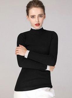 Turtleneck Long Sleeve Wool Pullover Sweater