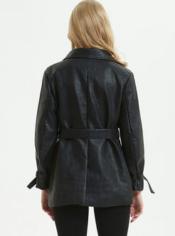 Black Turn Down Collar Leather Jacket