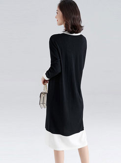 Color-blocked V-neck Long Sleeve Sweater Dress