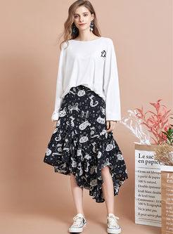 High Waist Cat Print Asymmetric Skirt