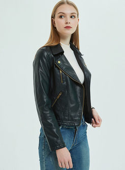 Black Lapel Slim Side Zipper Biker Jacket