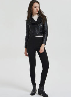 Black PU Slim Side Zipper Biker Jacket