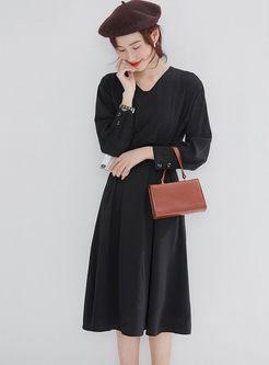 Black Long Sleeve A Line Sweater Dress