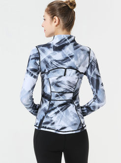 Stylish Geometric Print Slim Sport Jacket
