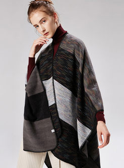 Black Stripe Thicken Cloak Scarf