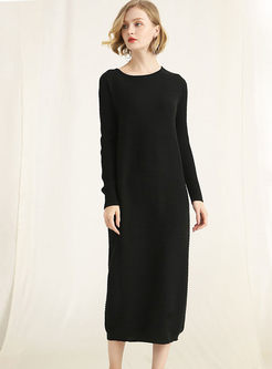 O-neck Long Sleeve Loose Sweater Dress