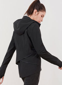 Black Long Sleeve Hooded Sport Jacket