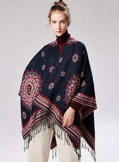 Trendy Print Tassel Cloak Scarf