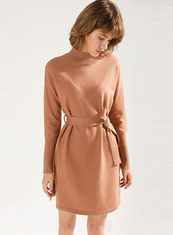 Solid Color Long Sleeve Slim Sweater Dress