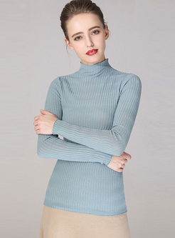 Blue Long Sleeve Pullover Slim Sweater