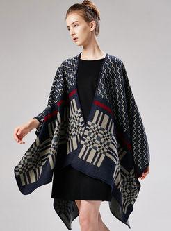 Chic Wave Stripe Thicken Cloak Scarf