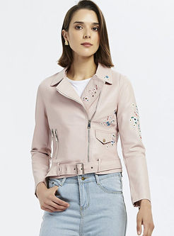 Lapel Embroidered Leather Jacket With Belt