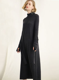 Black Long Sleeve Waist Sweater Dress