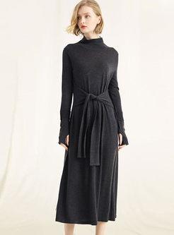 Black Long Sleeve Waist Sweater Dress