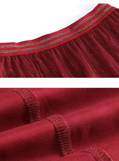 Red Bright Silk Mesh Pleated Skirt