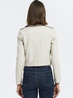 Lapel Long Sleeve Biker Jacket