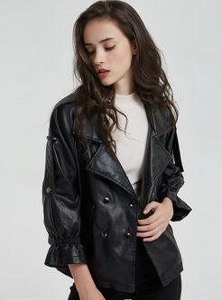 Black Turn Down Collar Leather Jacket