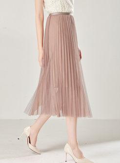 Elastic Waist Mesh Pleated A Line Skirt