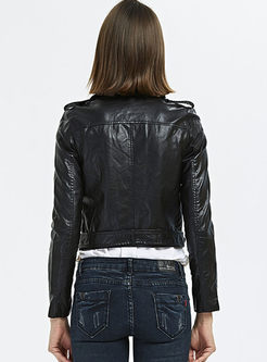 Solid Color Slim Biker Jacket With Belt