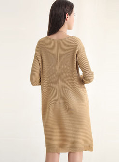 Solid Color Striped Loose Sweater Dress