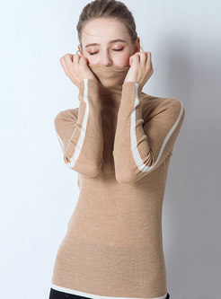 High Collar Color-blocked Slim Sweater